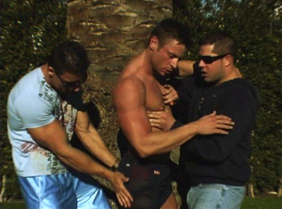 Muscled gay stud gets involved in gay Trio action