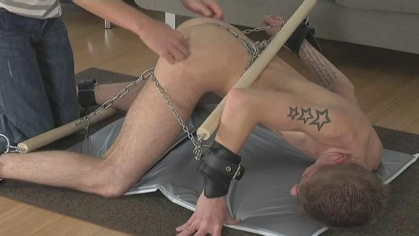 Tattooed pale homo acquires every part of his body shackled
