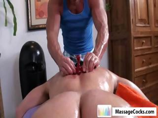 Studly masseuse gives homo man Dylan a deep massage with toys