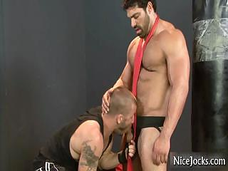 Huge muscled guy gets 10-Pounder sucked part4