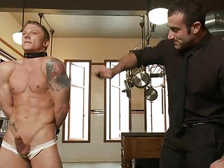 Tattooed muscled gay fellow gets bound and whipped