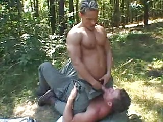 2 muscled gay chaps having joy outdoor