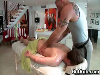 Hunky chap gets oiled up and homo massaged