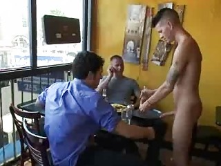 S&m gay fuck by group of patrons in reastaurant