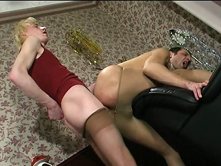 Steamy guys in lacy tights taking wild enjoyment from their well-hung...