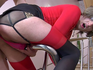 Concupiscent sissy in contrast top nylons going for anal and orall-service pleasure on the...