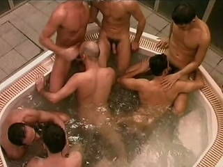 This massive whirlpool is host to a number of sexually excited Italian dudes who...