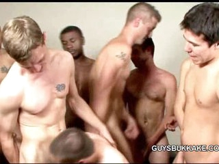 Bareback gay group-sex