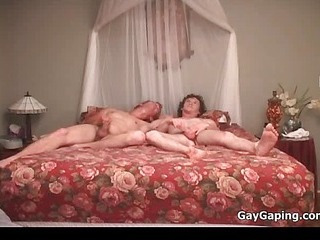 3 gay dudes engulf cocks and fuck asses