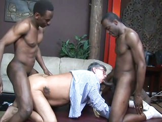 2 black stud fuck an old white stud
