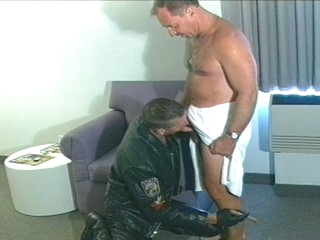 Sexy daddy sucks and fucks biker chap