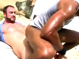 Interracial ass fucking gay bear