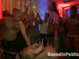 Stud gets gangfucked in homo nightclub
