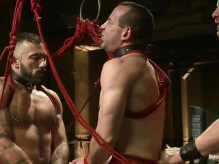 2 hawt homosexual men are tied with rope and they obey the will of their executor. One of the sex serf is between 'em and he's bent over to get screwed in the butt while the other pliant homosexual fucks his mouth. After that the executor hangs 'em both, treating 'em the same. Will this guy train 'em one time once more how's the boss?