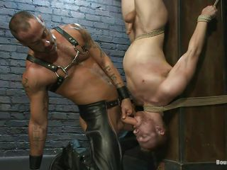 Hunk Madison tied his twig homosexual upside down and gave him a mean cook jerking previous to punishing his body with a scarcely any whip strikes. This chab is taking his taskmaster role very seriously and doesn't allows disobedience from his raunchy slaves. Seeing such a thin, milky white body and all that whipping made him slutty so now his fucking that charming mouth.