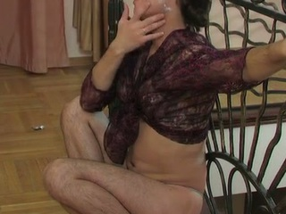 Concupiscent sissy in a watch-throughout blouse swallowing a hard cock and butt riding