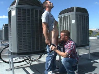 This juvenile hawt dude enjoys his 1st gay irrumation at the roof.