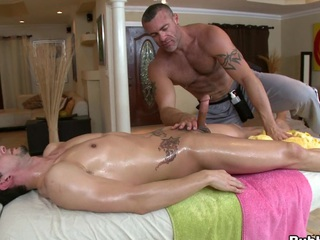 Cute massage dude is willing to eat that thick but large dick!
