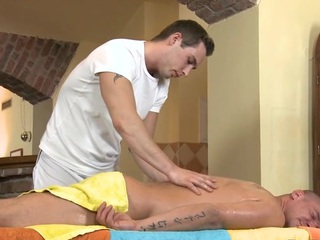 Cute twink receives a lusty massage from attractive homosexual dude