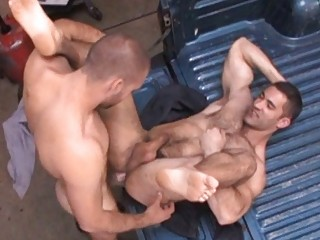 Naughty homo stud got his constricted bushy booty screwed hard