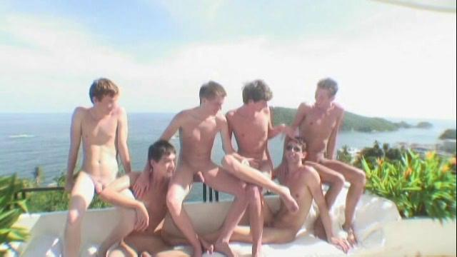 Six hot twinks having homosexual fucking party in a worthy villa