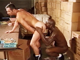 Fellow sucks dong in advance of fucking his hot ally in the Warehouse at work...