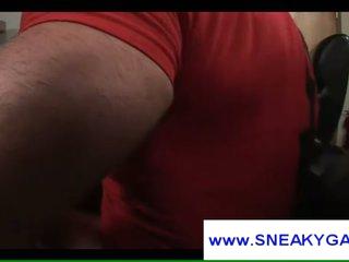 Muscle homosexual bear masturbates