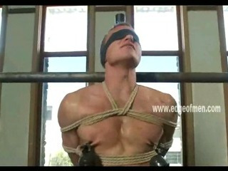 Unrepining homo fellow has his teats clamped during the time that this guy is blindfolded and teased
