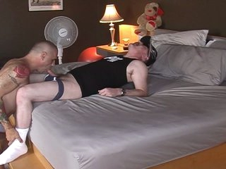 Slutty chubby pig daddy served by hawt muscled homo hunk