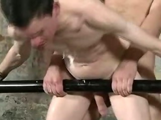 Restrained hunk gets some hawt wax and anal sex