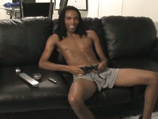Sexy dark gay with giant boner solo jerking pleasure on sofa