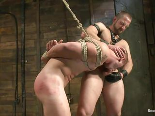 This chab shows his slave who's the boss and after licking his tight, hairless rectal hole this executor fucks his face hole and then licks his face in advance of fucking his rectal hole hardcore. The tied gay is hanging and has to obey as the dominant male goes unfathomable in his rectum, fucking him merciless. Want to watch if that guy will cum unfathomable in his ass?