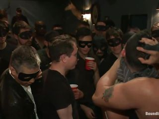 We don't know what this stud did but he's in big trouble! There's an angry crowd around him and each of the fellows are wearing masks and crave to fuck him hard. Look at all those concupiscent fellows and then at this cute chap that's bound up and has to obey. Can this stud handle all those hard cocks and acquires their semen? It's a hard torment and this stud will have to endure it!