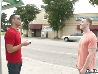 Look at these 2 sexy muscled men. They just met each other in the street and pretty pretty soon these homosexual guys fell for each other. After finding a corner around, the blonde one gets a admirable oral-sex fun from the black haired dude. Getting his dick sucked, that homo feels like he's in 7th heaven!