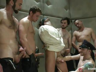 Being blindfolded and in a straitjacket the sexy male has no alternative then to obey these lustful gays. This guy is in a sanatorium but the merely thing that's insane here is the way they are fucking him! At First the studs give his wet weenie a mean rub and then fuck his face aperture during the time that whipping that sexy a-hole until it turns red!