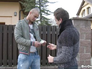 Gay guys have their sexy ways to receive off. These guys felt a giant attraction to every other but some money was needed too. After taking the money the didn't expect to go somewhere greater quantity private and started fucking right there on the street. The nice-looking bald dude got his ramrod sucked with passion and got paid for it too!