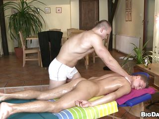 Hawt stud is getting his oiled body massaged by this muscle lad and then things are going wild as the masseur starts engulfing his hard shaggy dick. The stud has sexy pink moist lips and this chab does a great job engulfing that penis. After giving head it's his turn to receive happy so this chab puts his dick in his mouth. How's going to cum First and where?