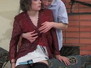 Sultry sissy in patterned nylons peels off his petticoat for a-hole fucking frenzy