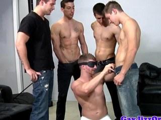 Bukkake loving blindfolded shlong acquires cumshots