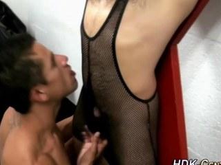 Gay fetish dude swallows
