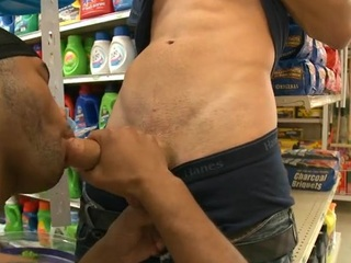 Interracial gay scene with white and dark dudes having fun