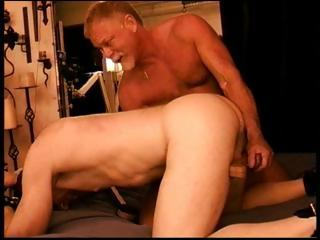 2 muscled papa bears punishment a dick by jerking it from behind
