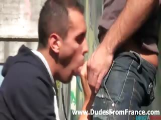 Hot french homo guys in sexy street oral-stimulation enjoyment