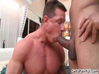 Mature muscle stud engulfing dark pecker part5