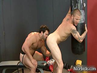 Hot ramrod acquires fucked into wazoo at gym by nicejocks