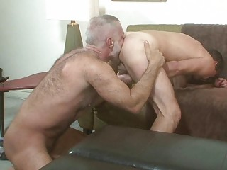 2 older homo hunks licking each others a-hole
