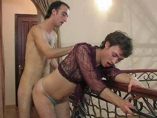 Lustful sissy in a see-through blouse swallowing a hard shlong and ass...