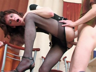 Sizzling hawt sissy chap can't but pull down his pantyhose for...