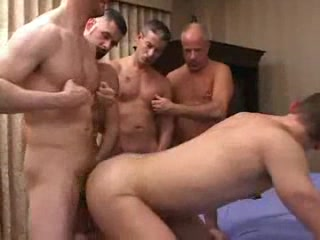 Gay chaps partying with anal penetration