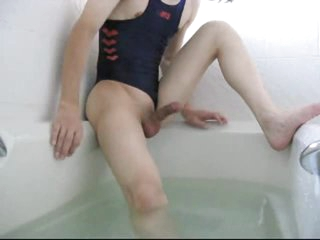 Asian dude in hotty swimsuit bathes and masturbates